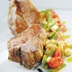 american lamb loin chops with spiced french bean tomato and mozzarella salad