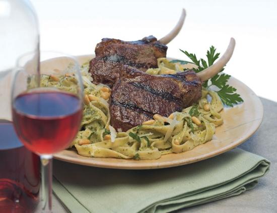 american lamb rib chops with pesto fettuccine
