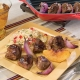 grilled peach and american lamb kabobs