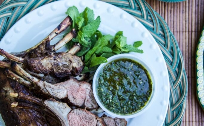 Grilled Rack of American Lamb with Mint Chimichurri