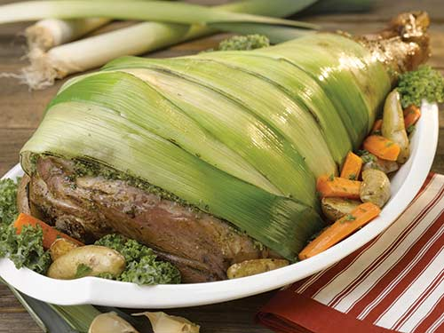 leg of lamb wrapped in leeks