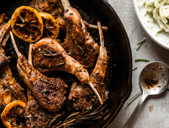 Pan-Fried American Lamb Chops with Fennel & Rosemary