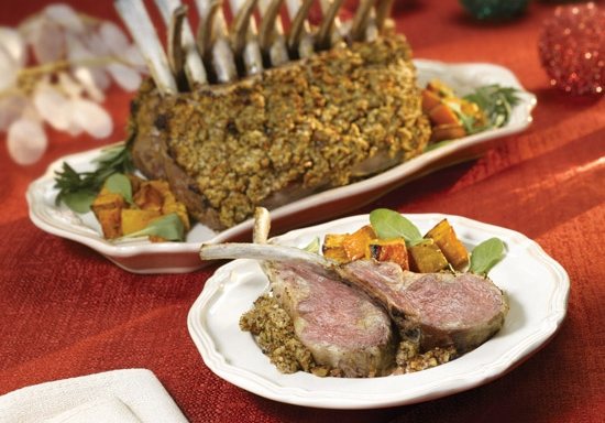 pecan crusted rack of lamb with rosemary balsamic sauce