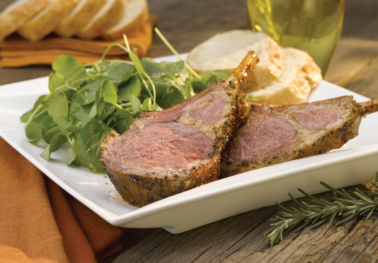 roasted rack of lamb and watercress salad