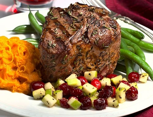 rosemary grilled lamb loin chops with cranberry apple relish