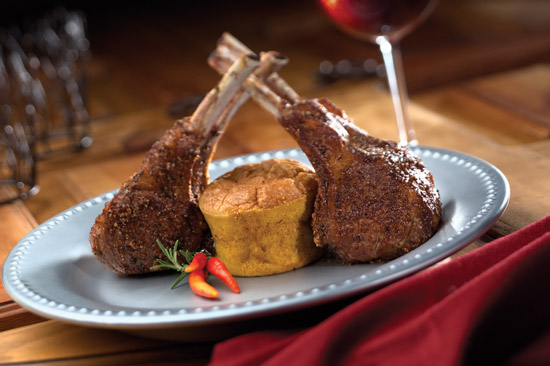 seared western lamb rib chops with goat cheese souffle