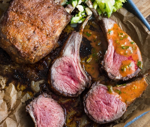 Spicy Buffalo-Style Rack of American Lamb with Crunchy Celery and Blue Cheese Salad