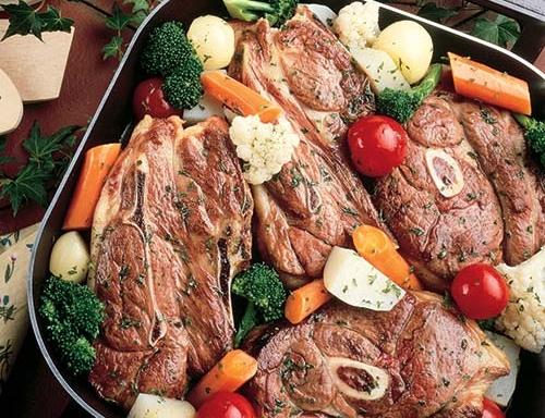 vegetable lamb chop skillet